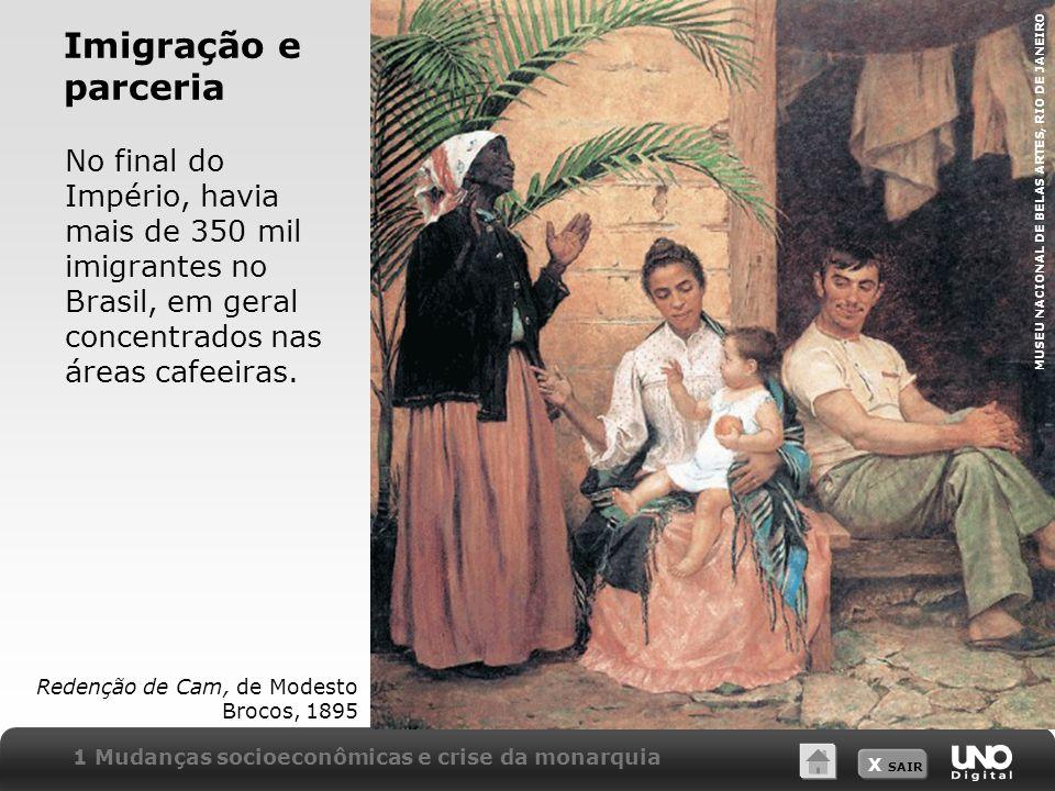 X SAIR No final do Império, havia mais de 350 mil imigrantes no Brasil, em geral concentrados nas áreas cafeeiras. Imigração e parceria Redenção de Ca