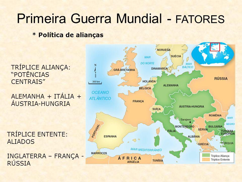 * Política de alianças TRÍPLICE ALIANÇA: POTÊNCIAS CENTRAIS ALEMANHA + ITÁLIA + ÁUSTRIA-HUNGRIA TRÍPLICE ENTENTE: ALIADOS INGLATERRA – FRANÇA - RÚSSIA Primeira Guerra Mundial - FATORES