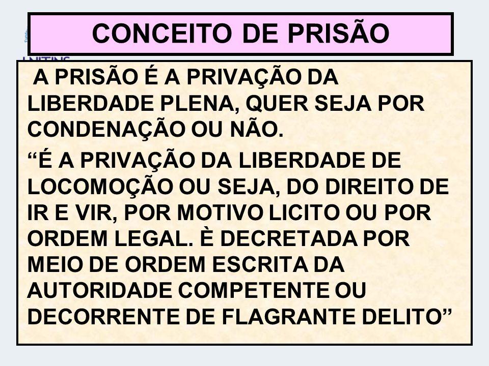 A PRISÃO É A PRIVAÇÃO DA LIBERDADE PLENA, QUER SEJA POR CONDENAÇÃO OU NÃO.