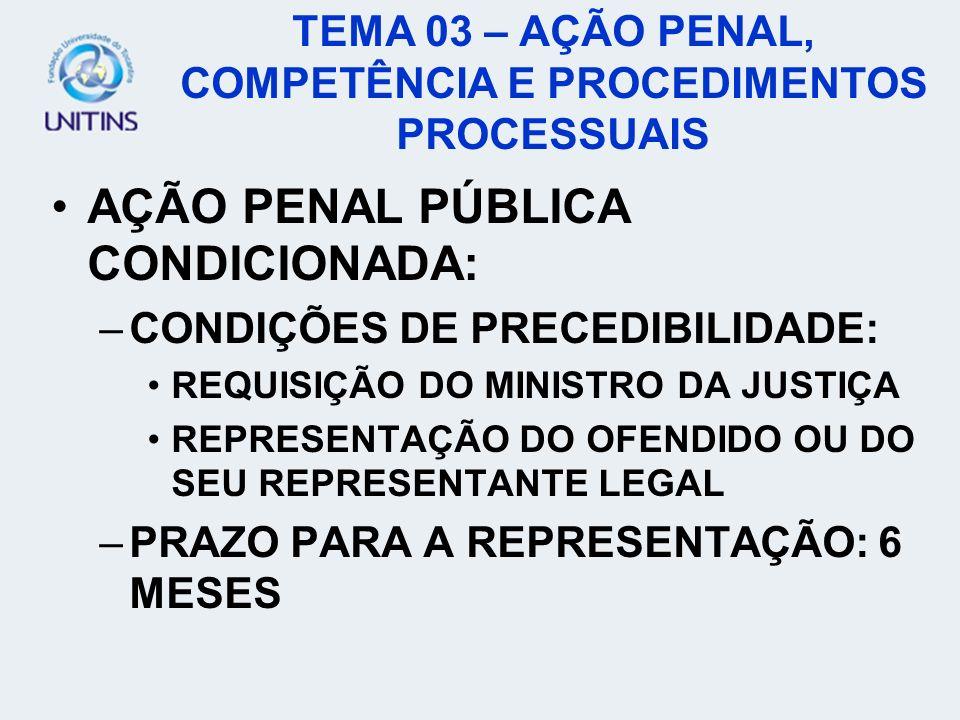 AÇÃO PENAL PÚBLICA CONDICIONADA: –CONDIÇÕES DE PRECEDIBILIDADE: REQUISIÇÃO DO MINISTRO DA JUSTIÇA REPRESENTAÇÃO DO OFENDIDO OU DO SEU REPRESENTANTE LE