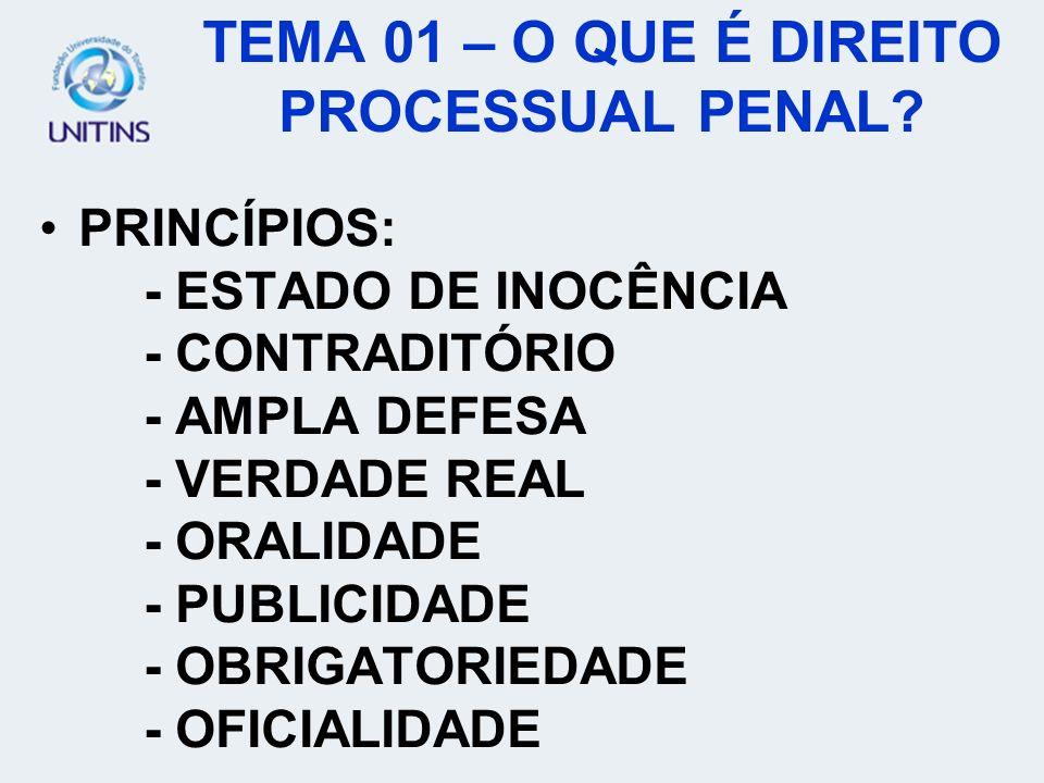 PRINCÍPIOS: - ESTADO DE INOCÊNCIA - CONTRADITÓRIO - AMPLA DEFESA - VERDADE REAL - ORALIDADE - PUBLICIDADE - OBRIGATORIEDADE - OFICIALIDADE TEMA 01 – O