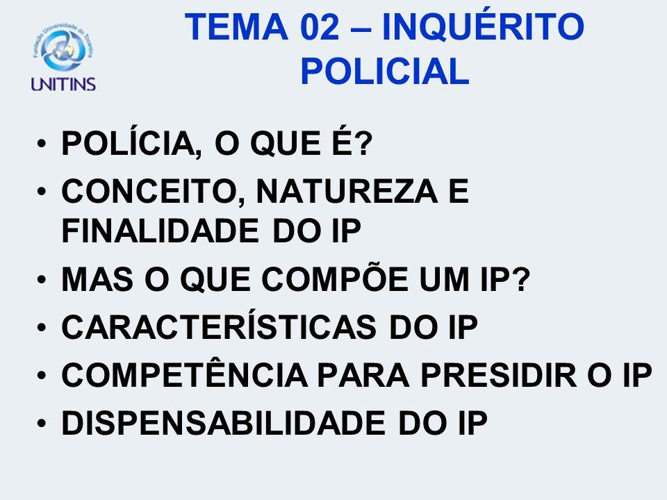VALOR PROBATÓRIO DO IP NOTITIA CRIMINIS AUTORES E DESTINATÁRIOS DO IP INSTAURAÇÃO DO IP NO CASO DE AÇÃO PENAL PÚBLICA INCONDICIONADA INSTAURAÇÃO DO IP NO CASO DE AÇÃO PENAL PÚBLICA CONDICIONADA TEMA 02 – INQUÉRITO POLICIAL