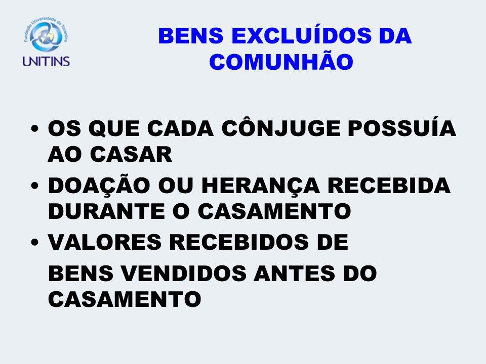 DO REGIME DA COMUNHÃO PARCIAL ESTE REGIME ORIGINA TRÊS ESPÉCIES DE BENS: OS DO MARIDO OS DA MULHER OS COMUNS