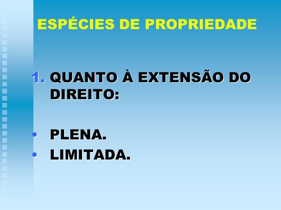 ESPÉCIES DE PROPRIEDADE 1.QUANTO À EXTENSÃO DO DIREITO: PLENA.PLENA. LIMITADA.LIMITADA.