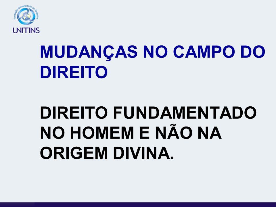 MUDANÇAS NO CAMPO DO DIREITO DIREITO FUNDAMENTADO NO HOMEM E NÃO NA ORIGEM DIVINA.