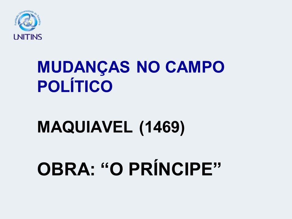 MUDANÇAS NO CAMPO POLÍTICO MAQUIAVEL (1469) OBRA: O PRÍNCIPE