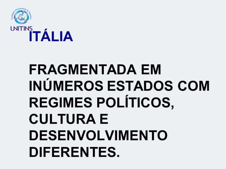 ITÁLIA FRAGMENTADA EM INÚMEROS ESTADOS COM REGIMES POLÍTICOS, CULTURA E DESENVOLVIMENTO DIFERENTES.