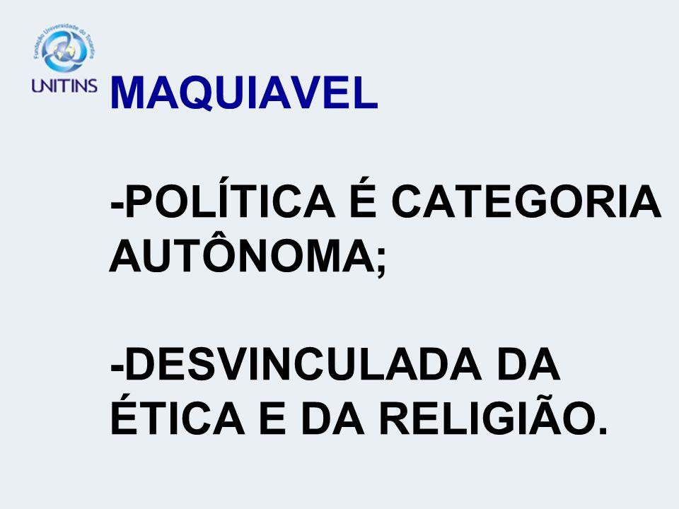 MAQUIAVEL -POLÍTICA É CATEGORIA AUTÔNOMA; -DESVINCULADA DA ÉTICA E DA RELIGIÃO.