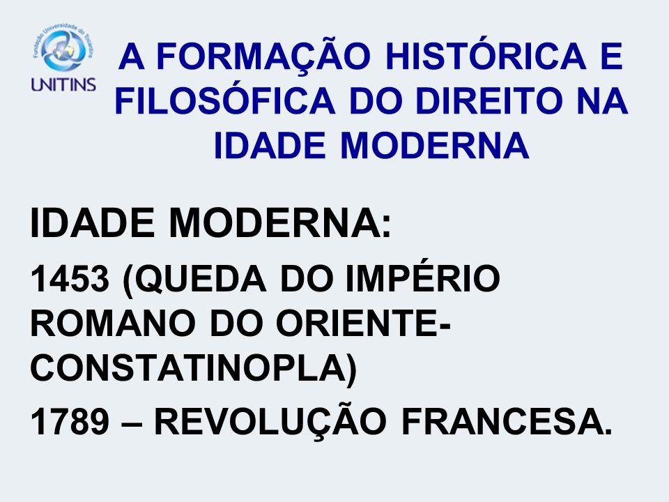 A FORMAÇÃO HISTÓRICA E FILOSÓFICA DO DIREITO NA IDADE MODERNA IDADE MODERNA: 1453 (QUEDA DO IMPÉRIO ROMANO DO ORIENTE- CONSTATINOPLA) 1789 – REVOLUÇÃO