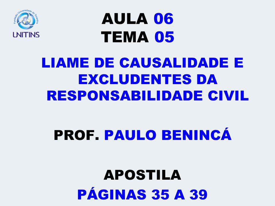 AULA 06 TEMA 05 LIAME DE CAUSALIDADE E EXCLUDENTES DA RESPONSABILIDADE CIVIL PROF. PAULO BENINCÁ APOSTILA PÁGINAS 35 A 39