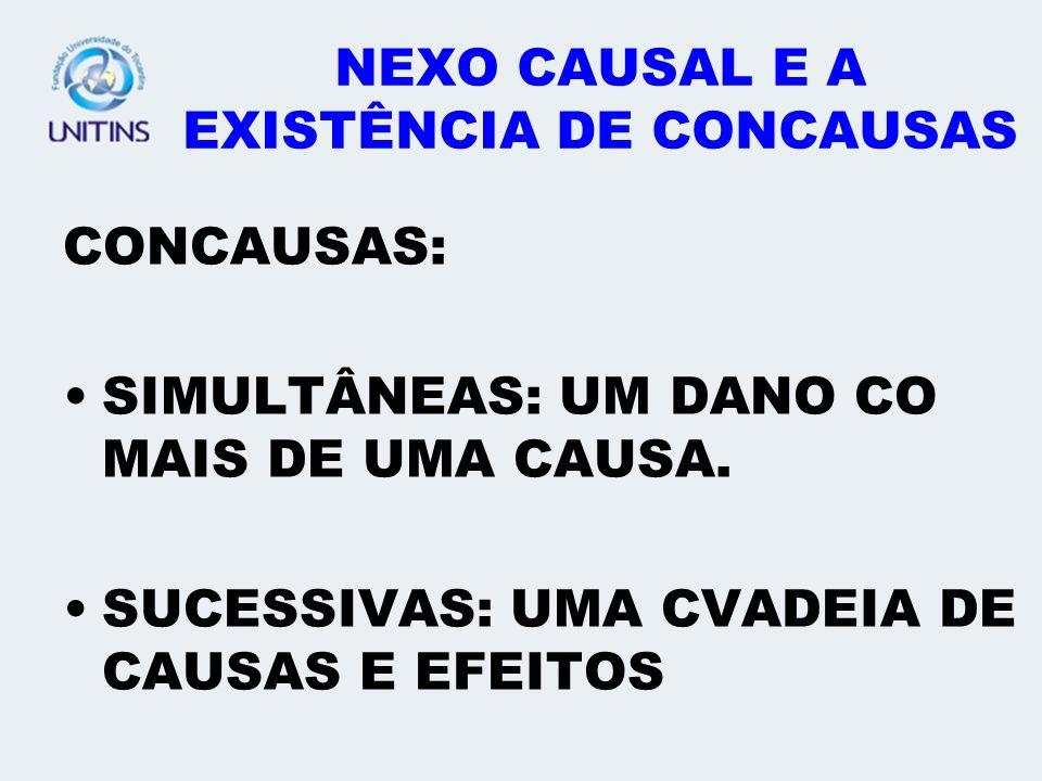 NEXO CAUSAL E A EXISTÊNCIA DE CONCAUSAS CONCAUSAS: SIMULTÂNEAS: UM DANO CO MAIS DE UMA CAUSA. SUCESSIVAS: UMA CVADEIA DE CAUSAS E EFEITOS
