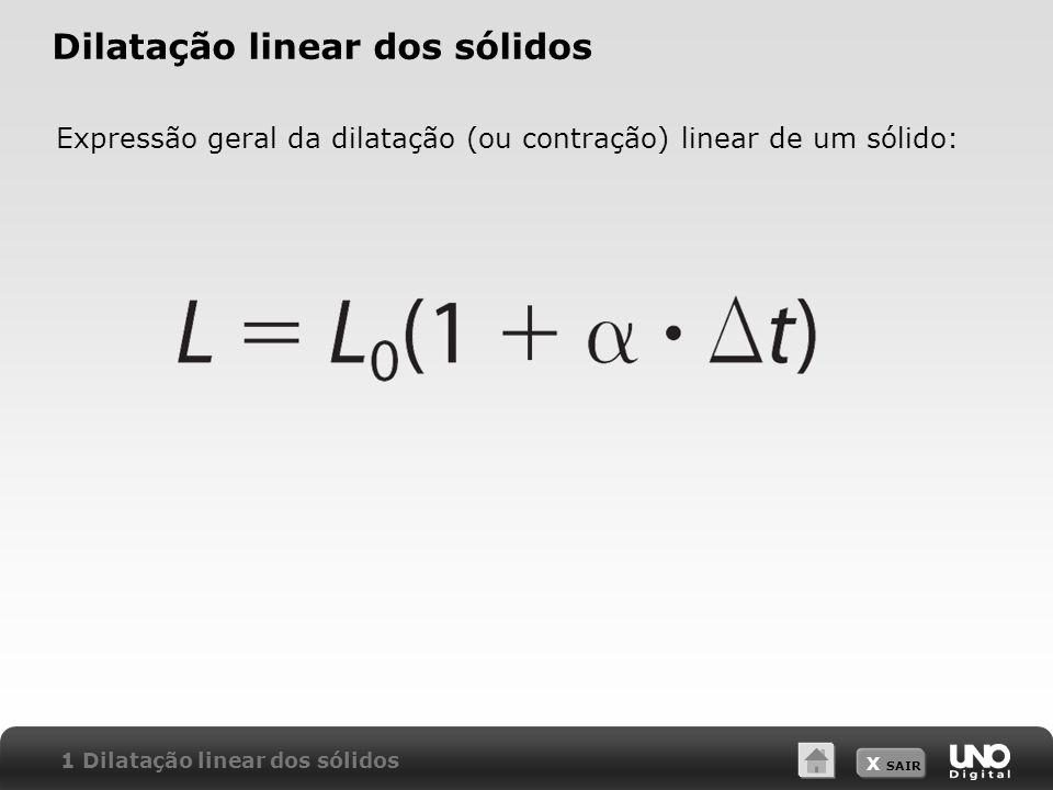 X SAIR Dilatação linear dos sólidos Expressão geral da dilatação (ou contração) linear de um sólido: 1 Dilatação linear dos sólidos