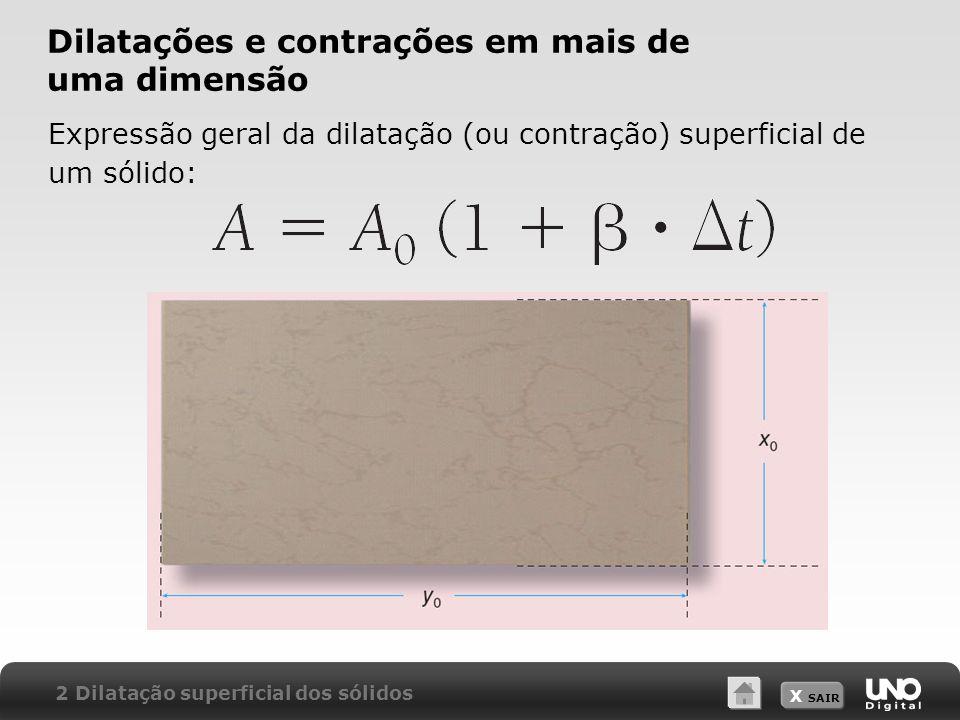 X SAIR Dilatações e contrações em mais de uma dimensão Expressão geral da dilatação (ou contração) superficial de um sólido: 2 Dilatação superficial d