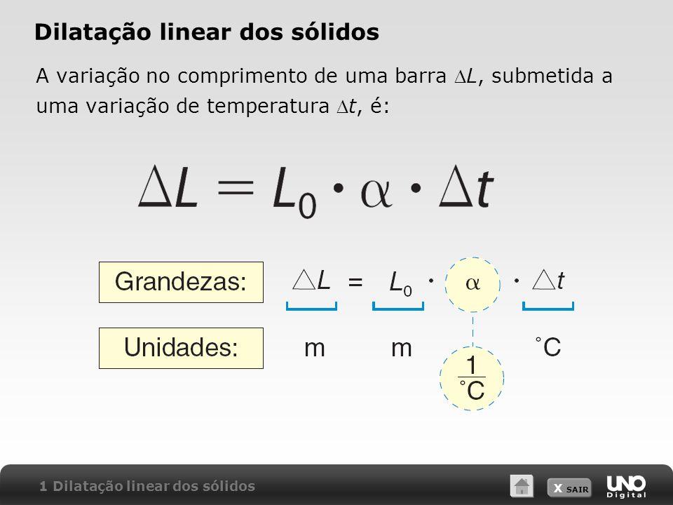 X SAIR Dilatação linear dos sólidos A variação no comprimento de uma barra L, submetida a uma variação de temperatura t, é: 1 Dilatação linear dos sól
