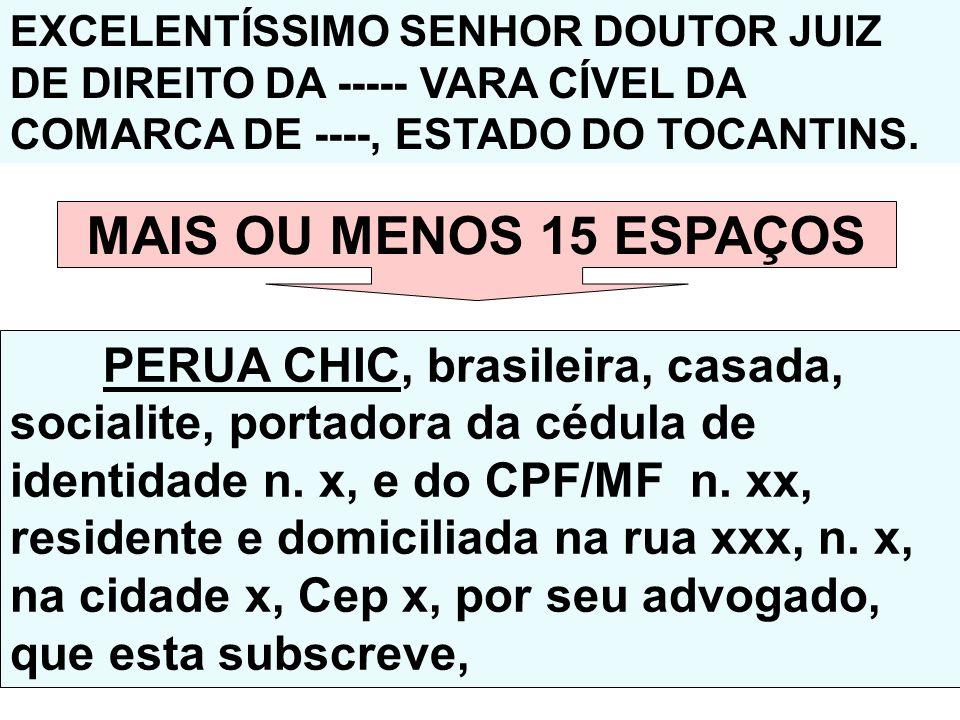 EXCELENTÍSSIMO SENHOR DOUTOR JUIZ DE DIREITO DA ----- VARA CÍVEL DA COMARCA DE ----, ESTADO DO TOCANTINS. MAIS OU MENOS 15 ESPAÇOS PERUA CHIC, brasile
