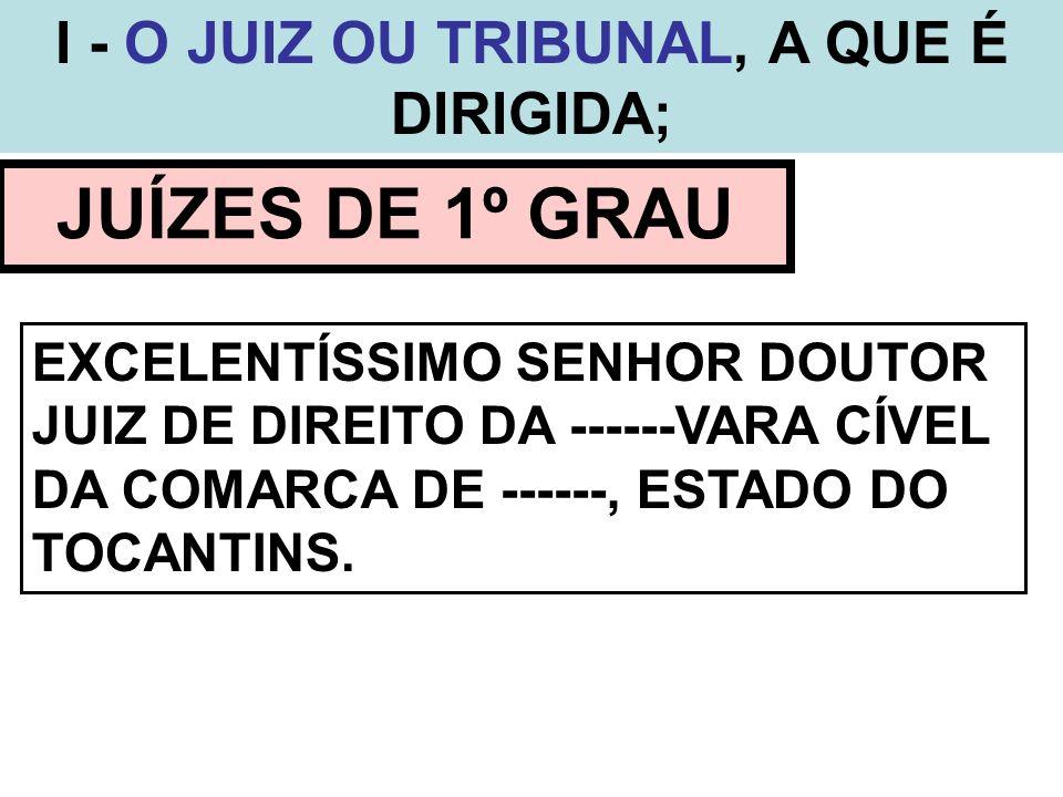 I - O JUIZ OU TRIBUNAL, A QUE É DIRIGIDA; JUIZADOS ESPECIAIS EXCELENTÍSSIMO SENHOR DOUTOR JUIZ DE DIREITO DO JUIZADO ESPECIAL CÍVEL DA COMARCA DE --- ---, ESTADO DO TOCANTINS.