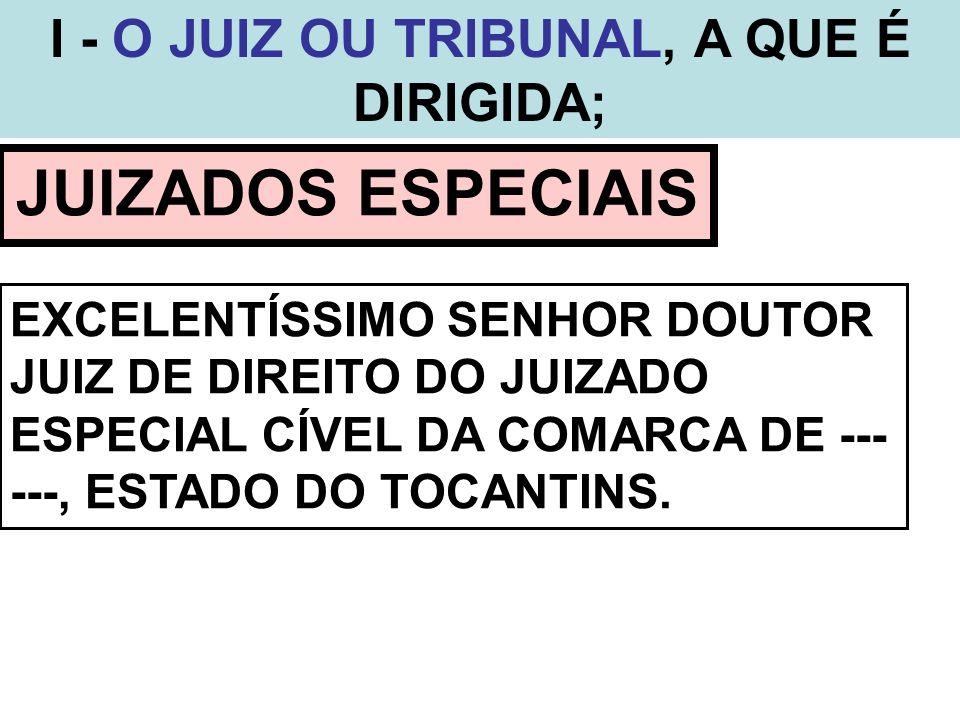 I - O JUIZ OU TRIBUNAL, A QUE É DIRIGIDA; JUIZADOS ESPECIAIS EXCELENTÍSSIMO SENHOR DOUTOR JUIZ DE DIREITO DO JUIZADO ESPECIAL CÍVEL DA COMARCA DE ---