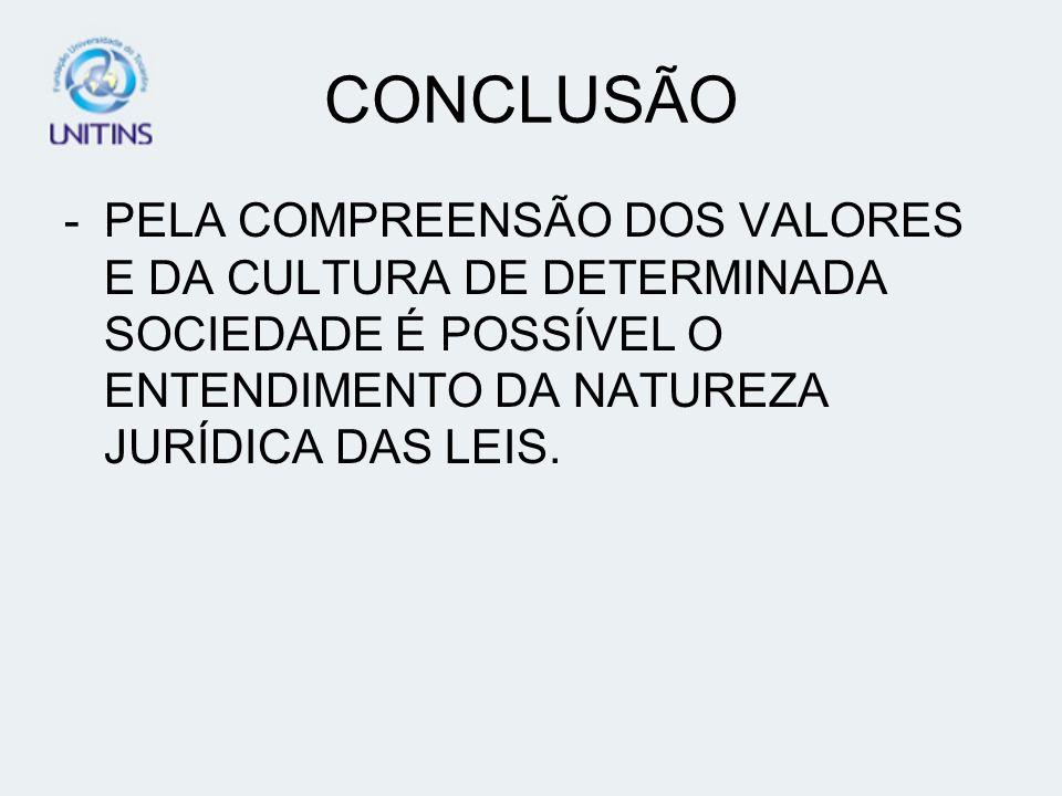 CONCLUSÃO -PELA COMPREENSÃO DOS VALORES E DA CULTURA DE DETERMINADA SOCIEDADE É POSSÍVEL O ENTENDIMENTO DA NATUREZA JURÍDICA DAS LEIS.
