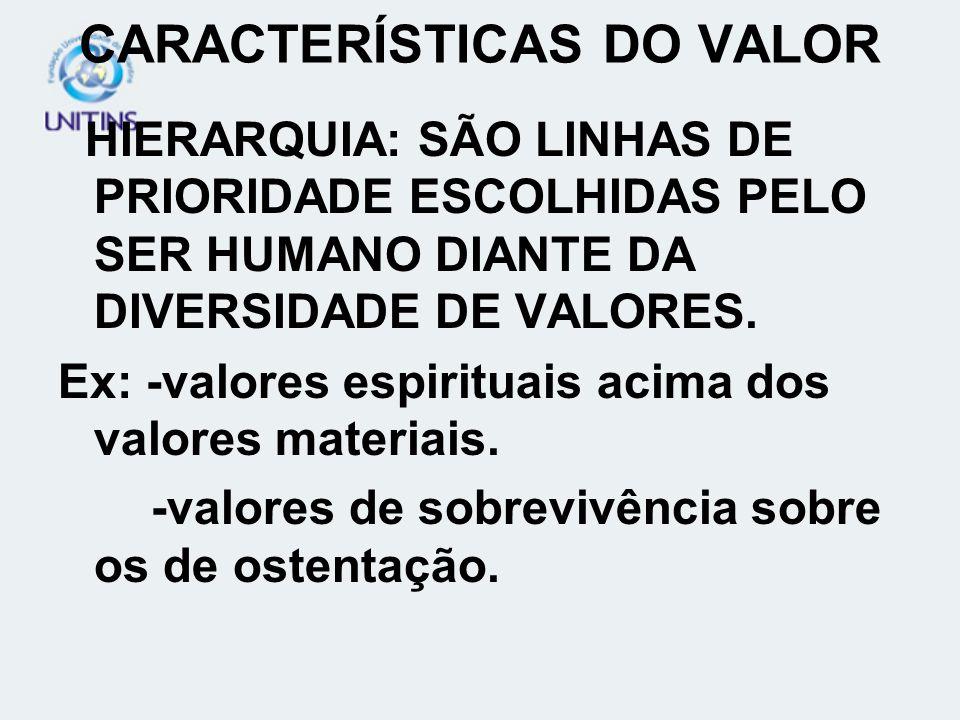 CARACTERÍSTICAS DO VALOR HIERARQUIA: SÃO LINHAS DE PRIORIDADE ESCOLHIDAS PELO SER HUMANO DIANTE DA DIVERSIDADE DE VALORES. Ex: -valores espirituais ac