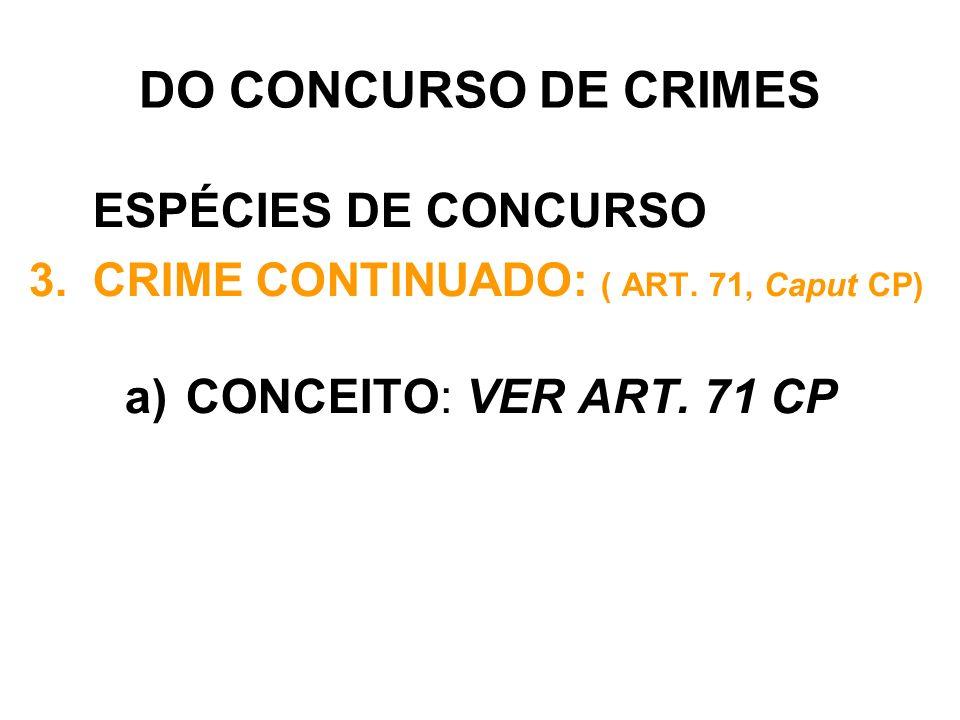 DO CONCURSO DE CRIMES ESPÉCIES DE CONCURSO 3.CRIME CONTINUADO: ( ART. 71, Caput CP) a) CONCEITO: VER ART. 71 CP