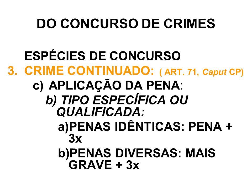 DO CONCURSO DE CRIMES ESPÉCIES DE CONCURSO 3.CRIME CONTINUADO: ( ART. 71, Caput CP) c) APLICAÇÃO DA PENA: b) TIPO ESPECÍFICA OU QUALIFICADA: a)PENAS I