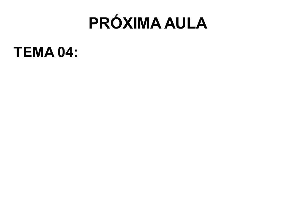 PRÓXIMA AULA TEMA 04: