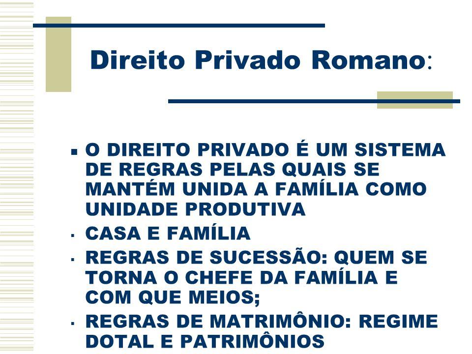 Legislação Destaques: ROMA:ORGANIZOU UMA CLASSE DE JURISTAS (CONSULTORES PARTICULARES DOS MAGISTRADOS, JUÍZES E PARTES DO PROCESSO FAMILIAR);