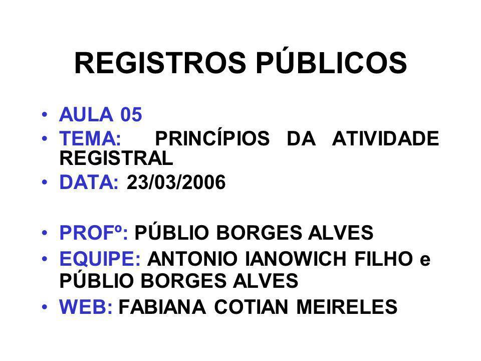 REGISTROS PÚBLICOS AULA 05 TEMA: PRINCÍPIOS DA ATIVIDADE REGISTRAL DATA: 23/03/2006 PROFº: PÚBLIO BORGES ALVES EQUIPE: ANTONIO IANOWICH FILHO e PÚBLIO BORGES ALVES WEB: FABIANA COTIAN MEIRELES
