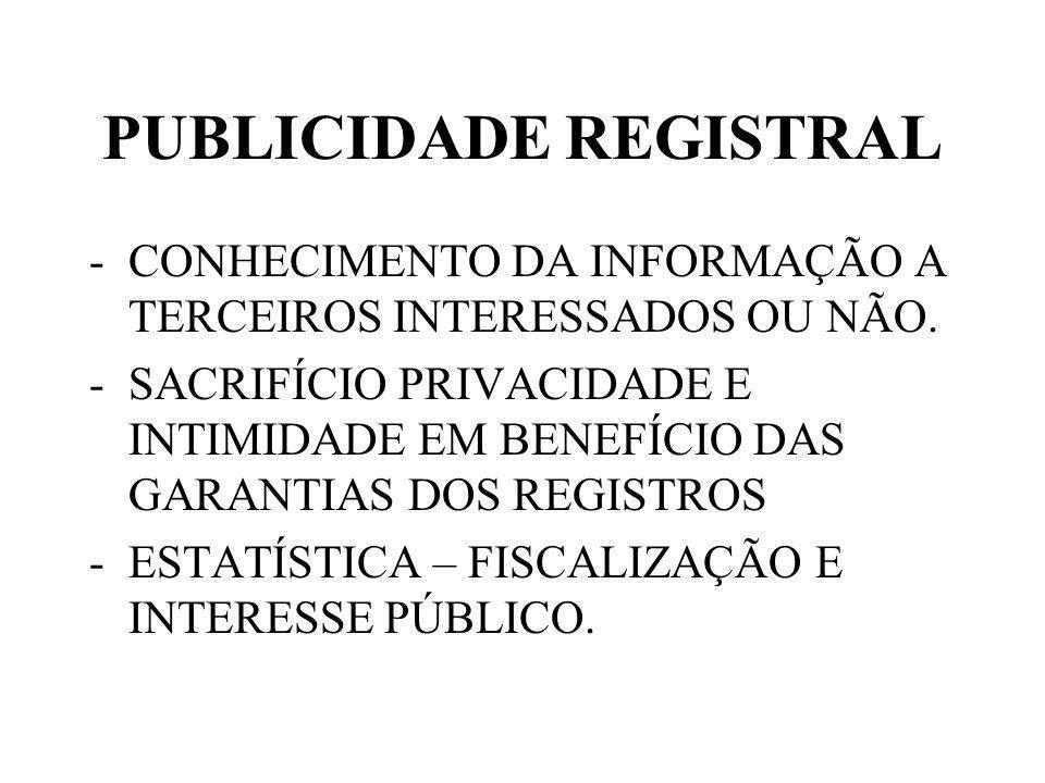 PUBLICIDADE REGISTRAL -CONHECIMENTO DA INFORMAÇÃO A TERCEIROS INTERESSADOS OU NÃO.