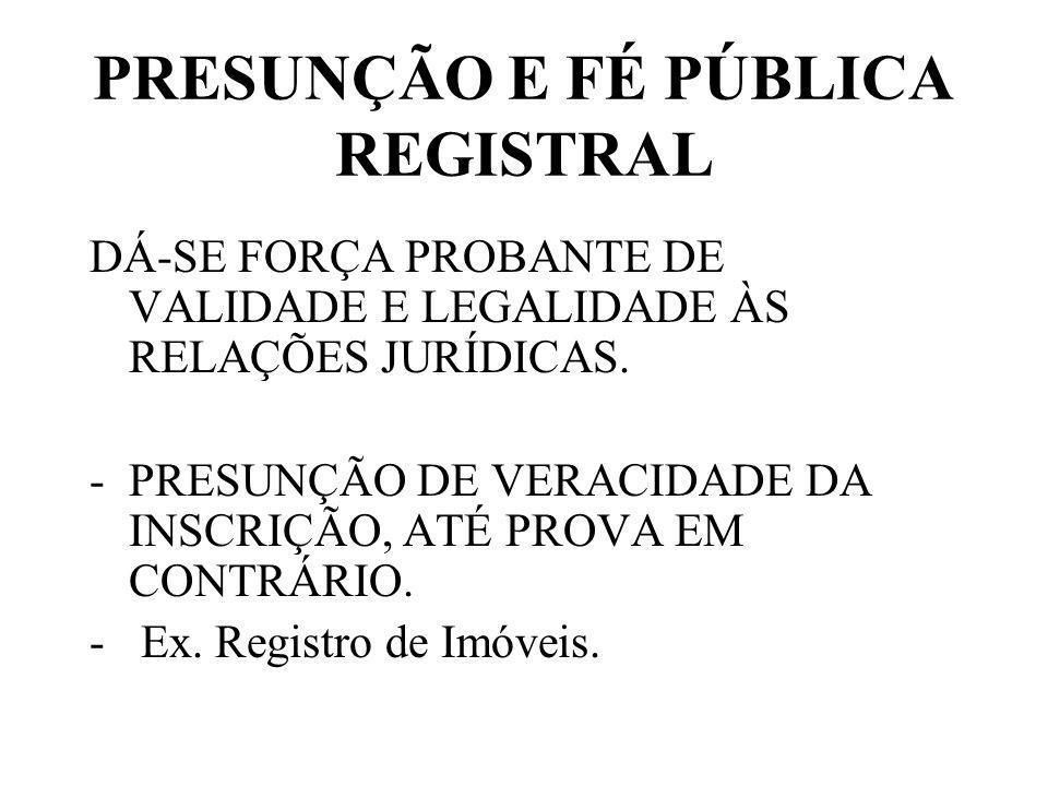 PRESUNÇÃO E FÉ PÚBLICA REGISTRAL DÁ-SE FORÇA PROBANTE DE VALIDADE E LEGALIDADE ÀS RELAÇÕES JURÍDICAS.