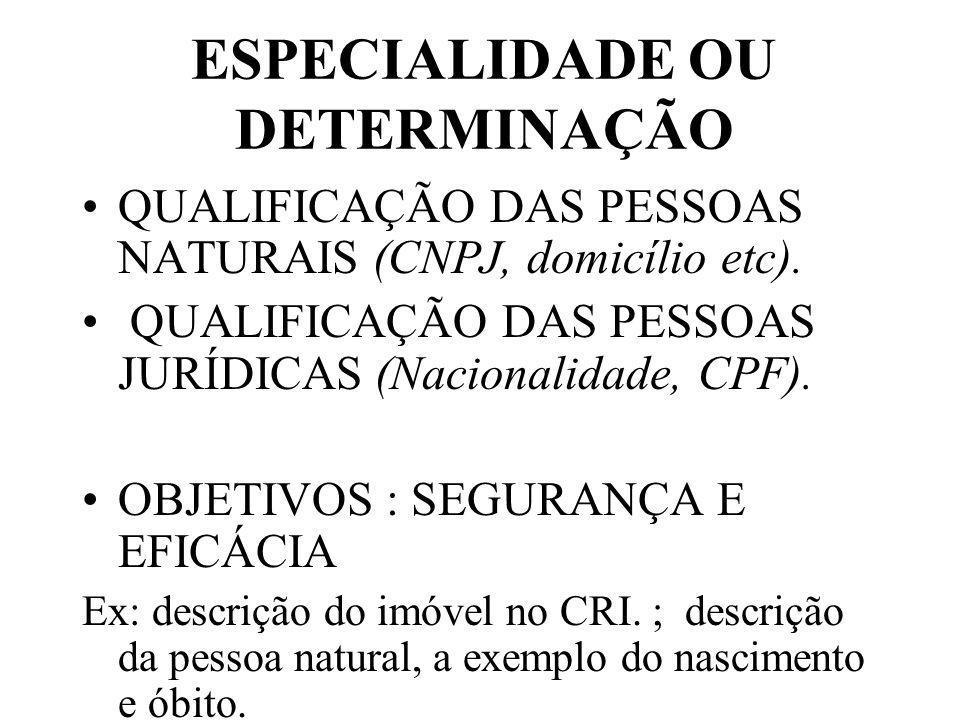 ESPECIALIDADE OU DETERMINAÇÃO QUALIFICAÇÃO DAS PESSOAS NATURAIS (CNPJ, domicílio etc).
