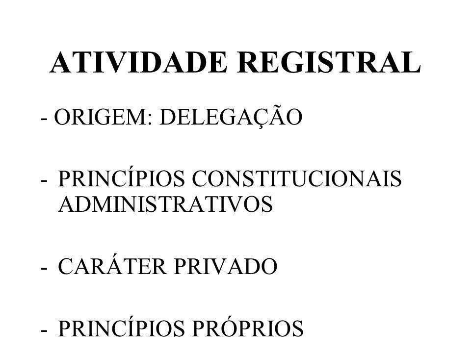 ATIVIDADE REGISTRAL - ORIGEM: DELEGAÇÃO -PRINCÍPIOS CONSTITUCIONAIS ADMINISTRATIVOS -CARÁTER PRIVADO -PRINCÍPIOS PRÓPRIOS