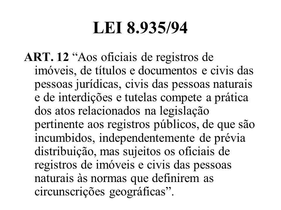 LEI 8.935/94 ART. 12 Aos oficiais de registros de imóveis, de títulos e documentos e civis das pessoas jurídicas, civis das pessoas naturais e de inte