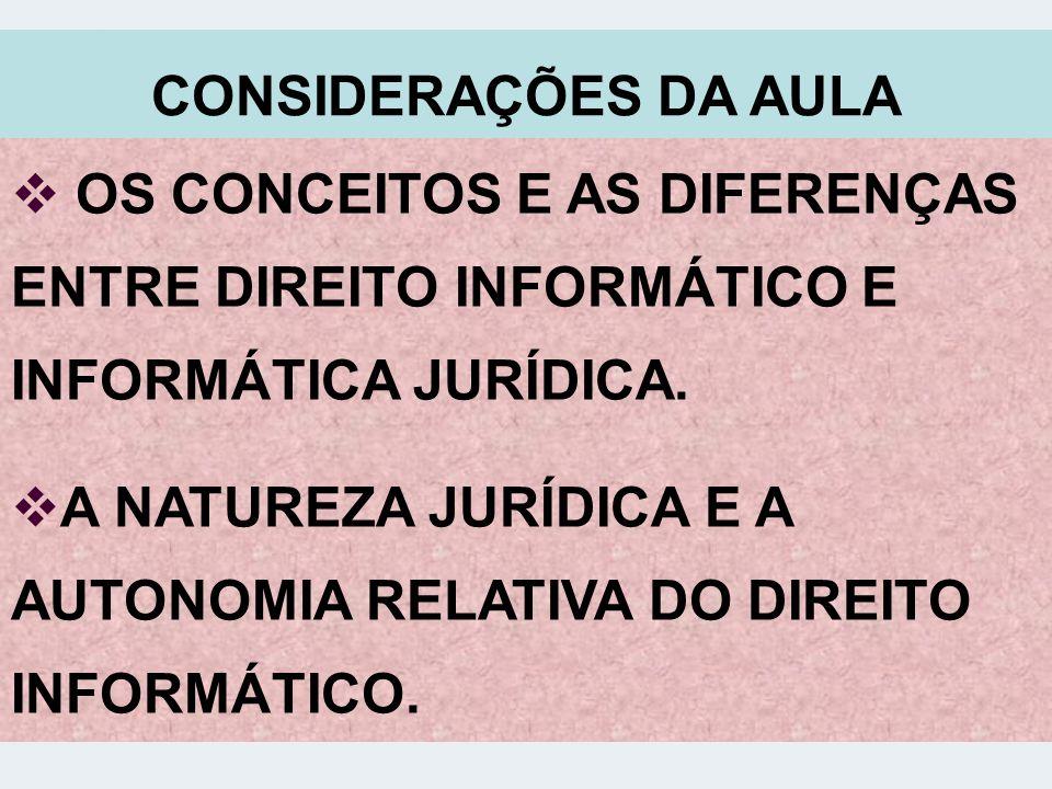 CONSIDERAÇÕES DA AULA OS CONCEITOS E AS DIFERENÇAS ENTRE DIREITO INFORMÁTICO E INFORMÁTICA JURÍDICA. A NATUREZA JURÍDICA E A AUTONOMIA RELATIVA DO DIR