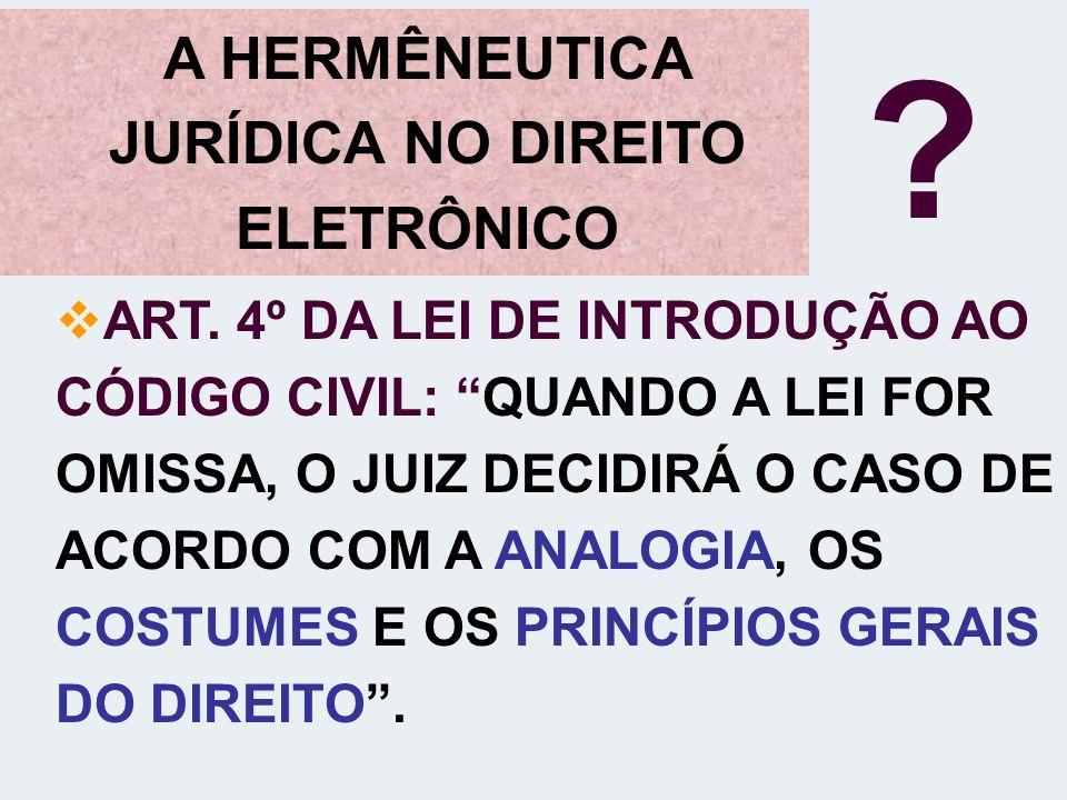 A HERMÊNEUTICA JURÍDICA NO DIREITO ELETRÔNICO ? ART. 4º DA LEI DE INTRODUÇÃO AO CÓDIGO CIVIL: QUANDO A LEI FOR OMISSA, O JUIZ DECIDIRÁ O CASO DE ACORD