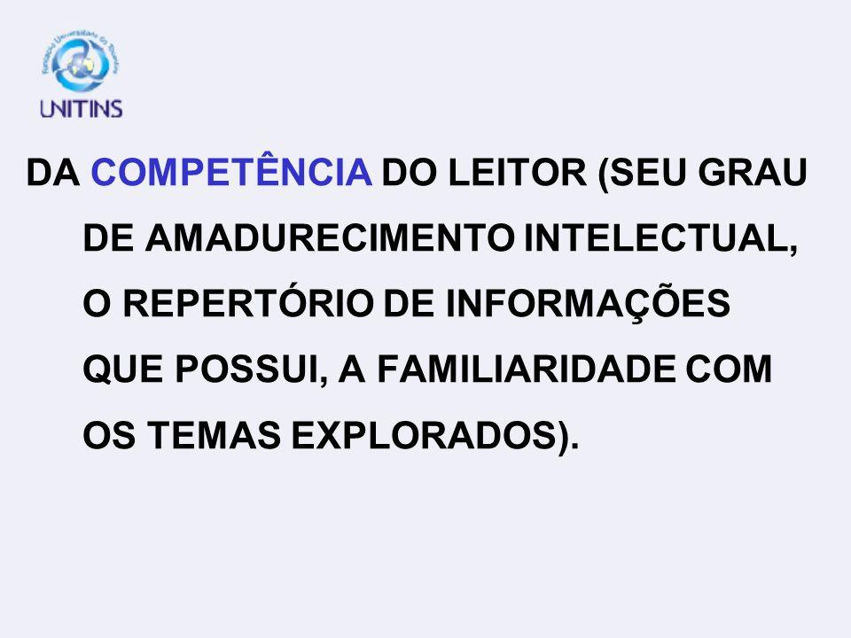 DA COMPLEXIDADE DO PRÓPRIO TEXTO (SEU VOCABULÁRIO, SUA ESTRUTURAÇÃO SINTÁTICO- SEMÂNTICA, SUAS RELAÇÕES LÓGICAS, O TIPO DE ASSUNTO TRA TADO ETC.); GRAU DE DIFICULDADE