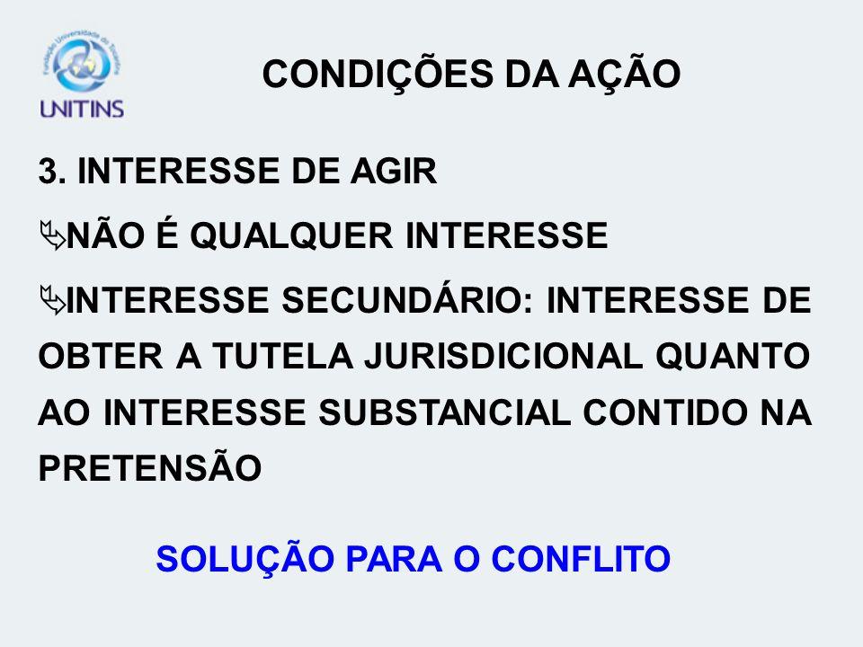 3. INTERESSE DE AGIR NÃO É QUALQUER INTERESSE INTERESSE SECUNDÁRIO: INTERESSE DE OBTER A TUTELA JURISDICIONAL QUANTO AO INTERESSE SUBSTANCIAL CONTIDO