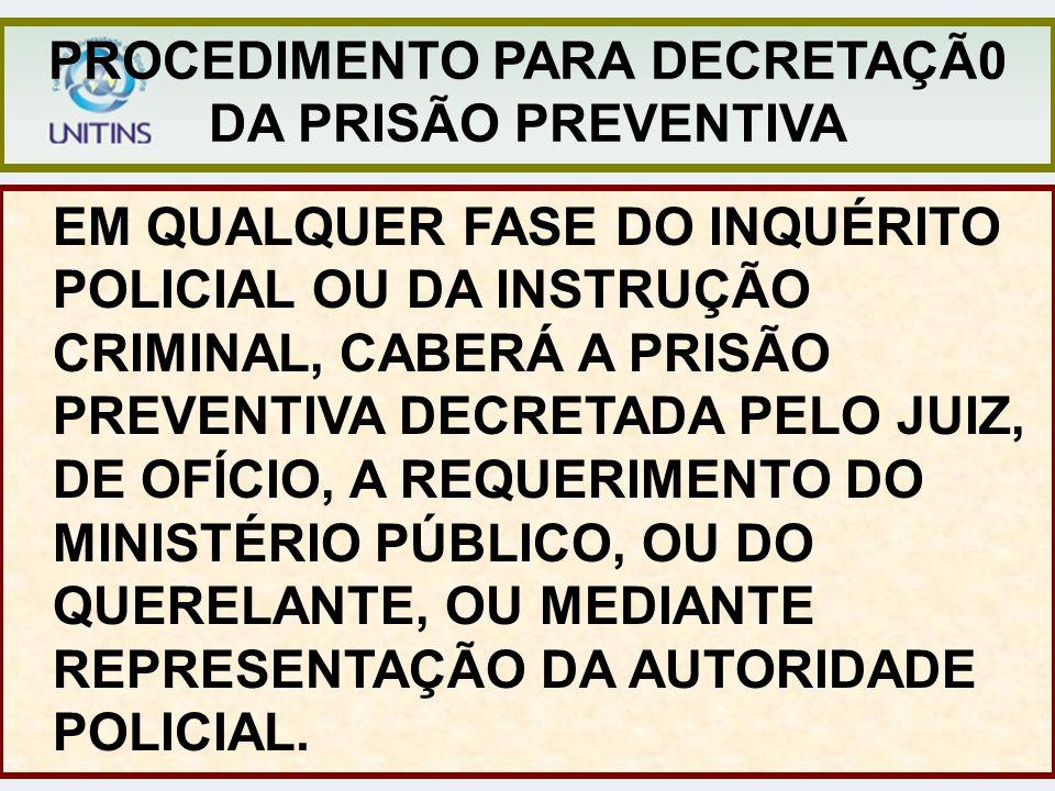 PRESSUPOSTOS PARA A DECRETAÇÃO DA PRISÃO PREVENTIVA: ART.