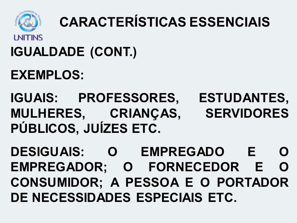 IGUALDADE (CONT.) EXEMPLOS: IGUAIS: PROFESSORES, ESTUDANTES, MULHERES, CRIANÇAS, SERVIDORES PÚBLICOS, JUÍZES ETC. DESIGUAIS: O EMPREGADO E O EMPREGADO