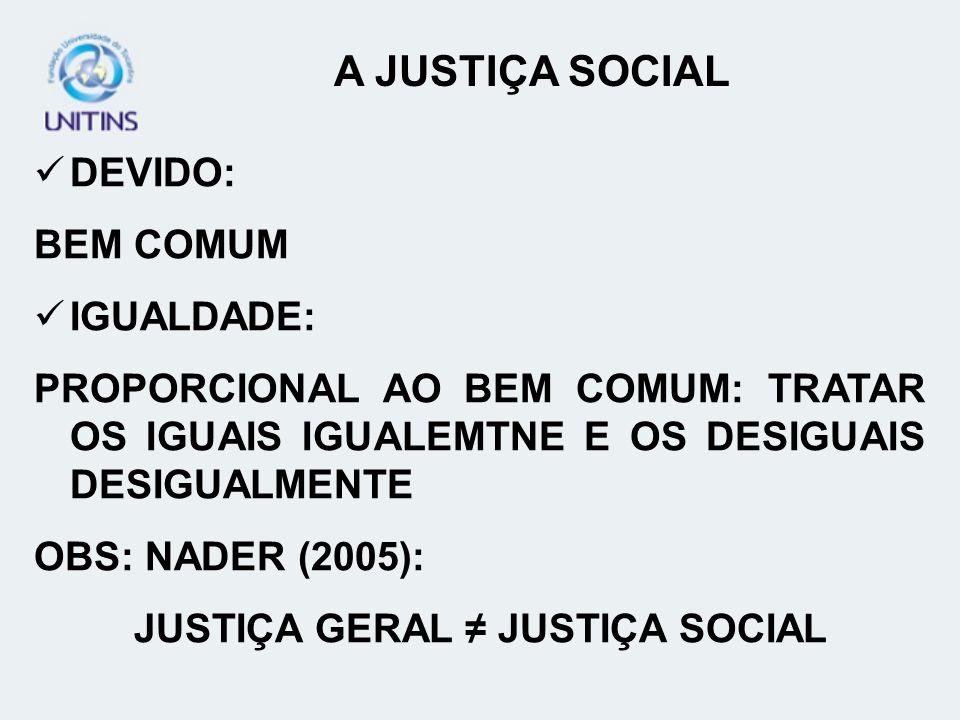 DEVIDO: BEM COMUM IGUALDADE: PROPORCIONAL AO BEM COMUM: TRATAR OS IGUAIS IGUALEMTNE E OS DESIGUAIS DESIGUALMENTE OBS: NADER (2005): JUSTIÇA GERAL JUST