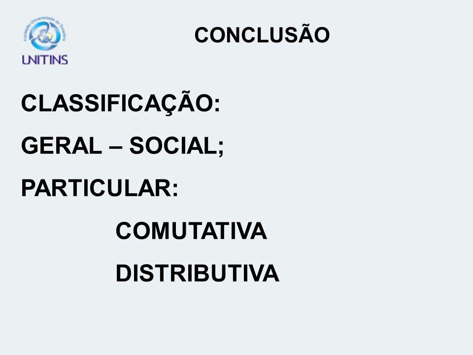 CONCLUSÃO CLASSIFICAÇÃO: GERAL – SOCIAL; PARTICULAR: COMUTATIVA DISTRIBUTIVA