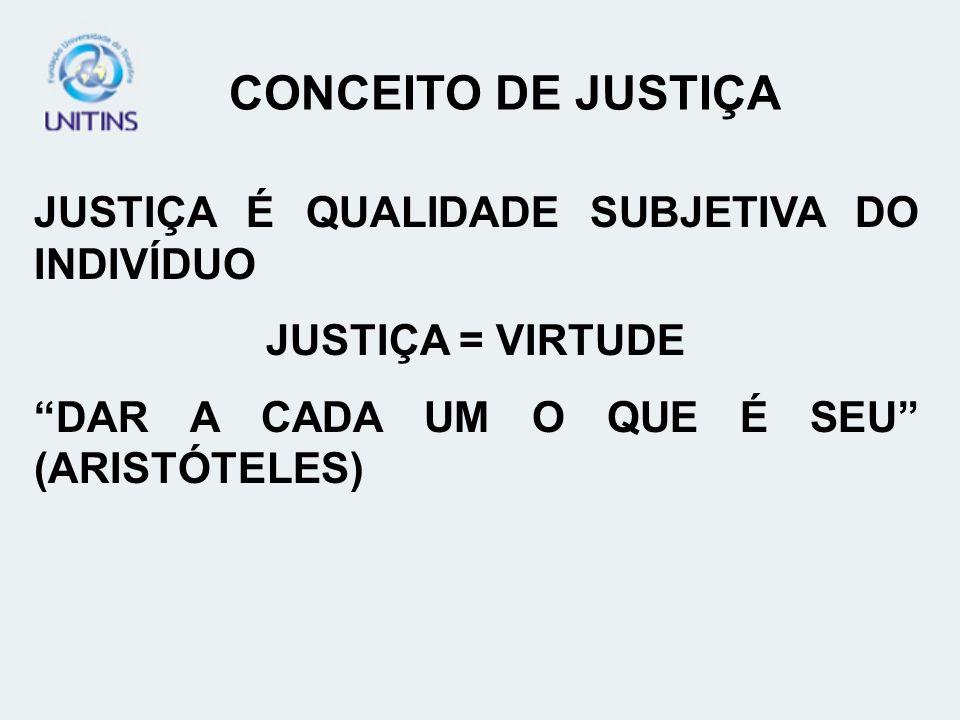 JUSTIÇA É QUALIDADE SUBJETIVA DO INDIVÍDUO JUSTIÇA = VIRTUDE DAR A CADA UM O QUE É SEU (ARISTÓTELES) CONCEITO DE JUSTIÇA