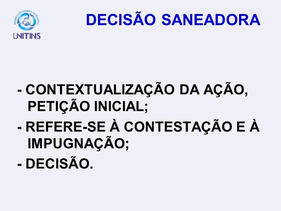 DECISÃO SANEADORA (REQUISITOS FORMAIS DO PROCESSO) - CONDIÇÕES DA AÇÃO; - PRESSUPOSTOS INDISPENSÁVEIS À CONSTITUIÇÃO E DESENVOLVIMENTO VÁLIDO E REGULA
