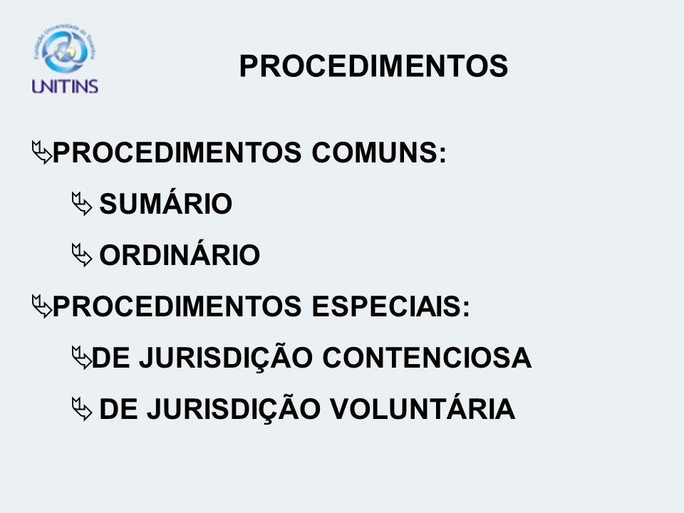 PROCEDIMENTOS COMUNS: SUMÁRIO ORDINÁRIO PROCEDIMENTOS ESPECIAIS: DE JURISDIÇÃO CONTENCIOSA DE JURISDIÇÃO VOLUNTÁRIA