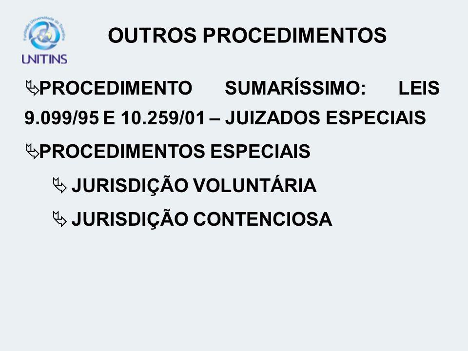 OUTROS PROCEDIMENTOS PROCEDIMENTO SUMARÍSSIMO: LEIS 9.099/95 E 10.259/01 – JUIZADOS ESPECIAIS PROCEDIMENTOS ESPECIAIS JURISDIÇÃO VOLUNTÁRIA JURISDIÇÃO