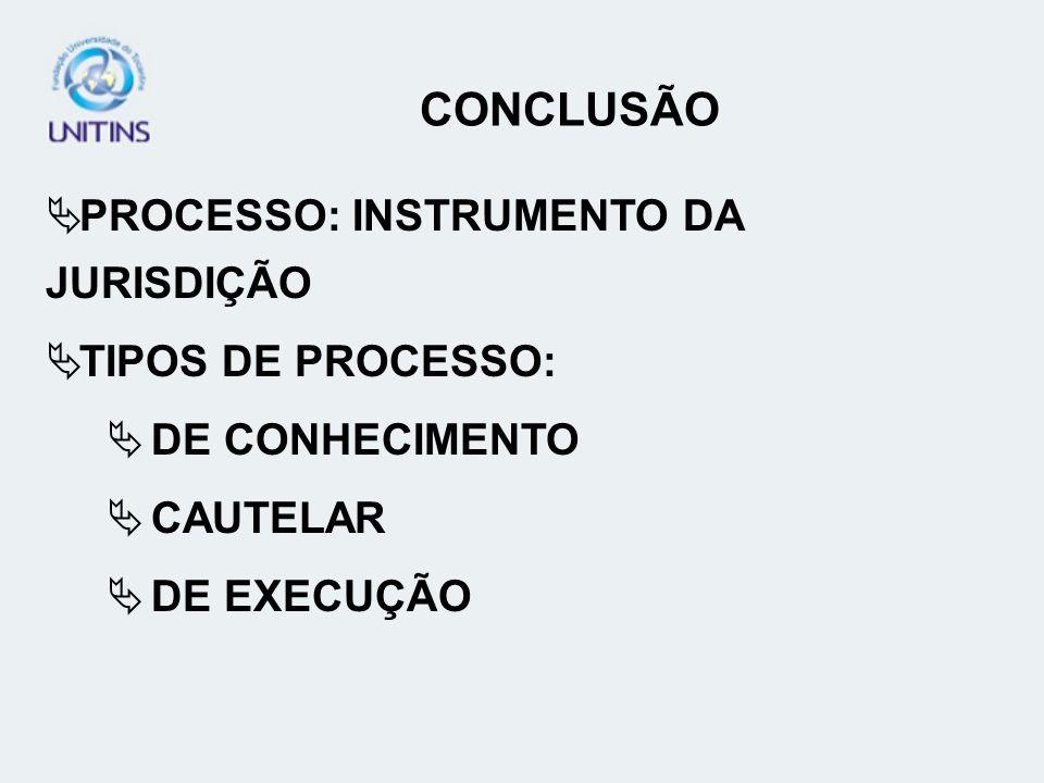 CONCLUSÃO PROCESSO: INSTRUMENTO DA JURISDIÇÃO TIPOS DE PROCESSO: DE CONHECIMENTO CAUTELAR DE EXECUÇÃO