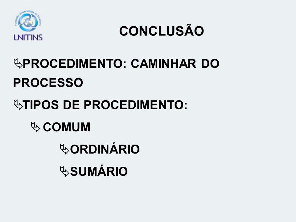 PROCEDIMENTO: CAMINHAR DO PROCESSO TIPOS DE PROCEDIMENTO: COMUM ORDINÁRIO SUMÁRIO CONCLUSÃO