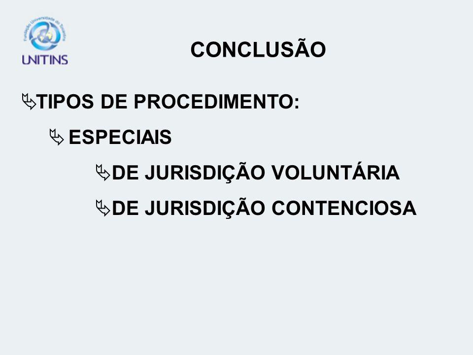 TIPOS DE PROCEDIMENTO: ESPECIAIS DE JURISDIÇÃO VOLUNTÁRIA DE JURISDIÇÃO CONTENCIOSA CONCLUSÃO