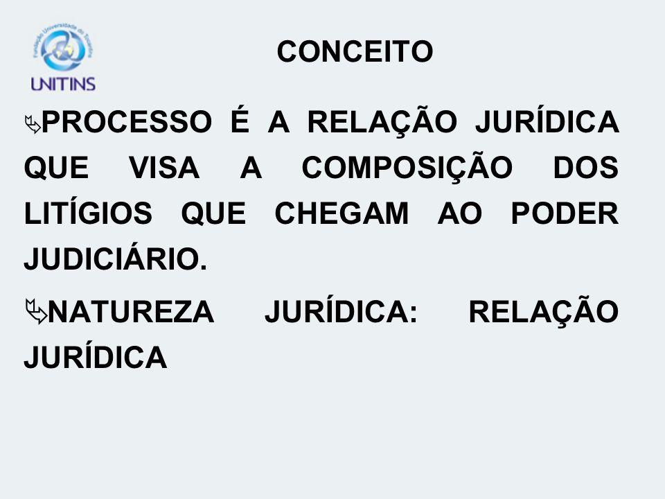 CONCEITO PROCESSO É A RELAÇÃO JURÍDICA QUE VISA A COMPOSIÇÃO DOS LITÍGIOS QUE CHEGAM AO PODER JUDICIÁRIO. NATUREZA JURÍDICA: RELAÇÃO JURÍDICA
