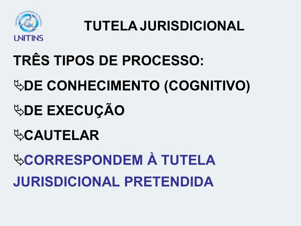 TRÊS TIPOS DE PROCESSO: DE CONHECIMENTO (COGNITIVO) DE EXECUÇÃO CAUTELAR CORRESPONDEM À TUTELA JURISDICIONAL PRETENDIDA
